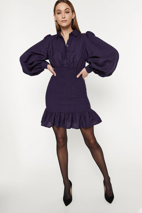 LINEN BLEND SHIRRED DRESS in colour BLACK IRIS
