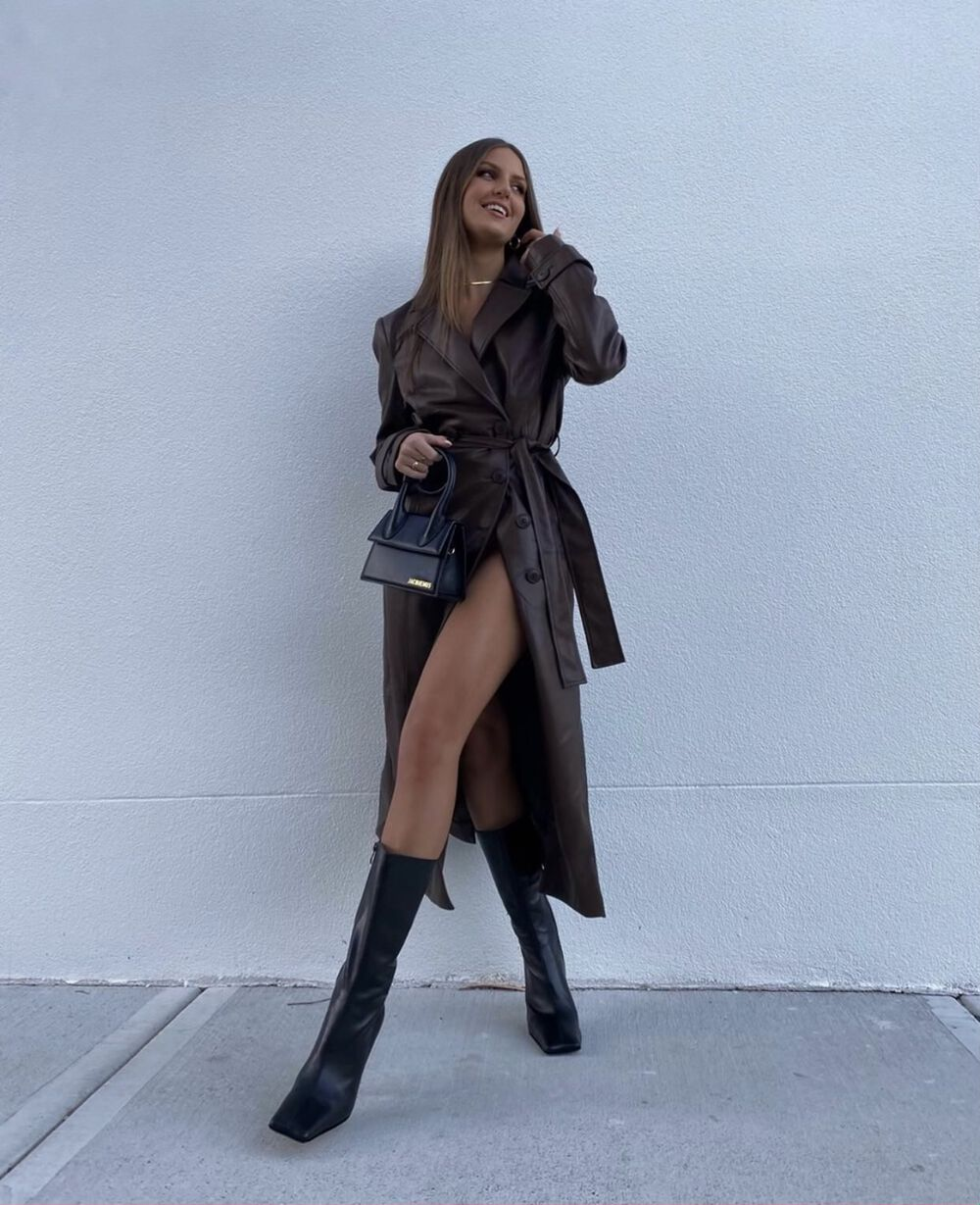 VEGAN LEATHER TRENCH COAT in colour CHOCOLATE BROWN