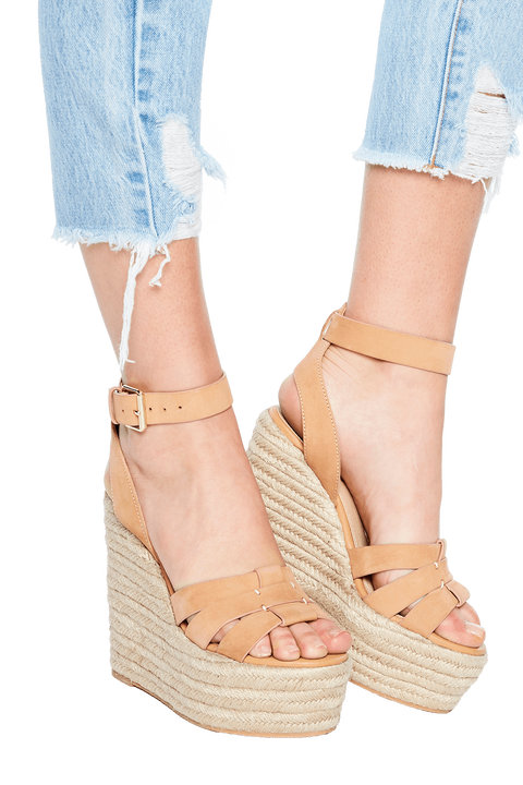 LEATHER STRAP WEDGE in colour TAN