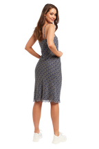 FLORAL SLIP DRESS in colour VALLARTA BLUE