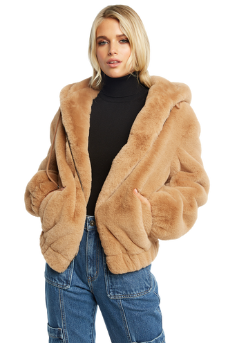BELLA ZIP FUR JACKET in colour ALMOND