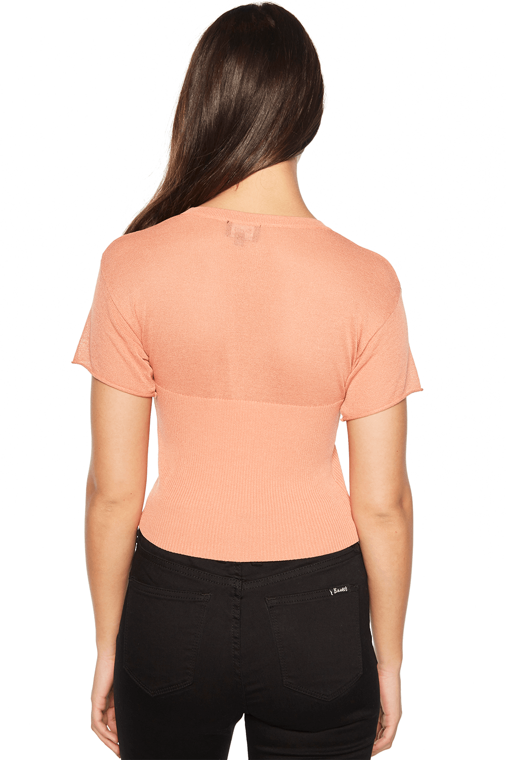 CROP KNIT TEE in colour TAWNY ORANGE