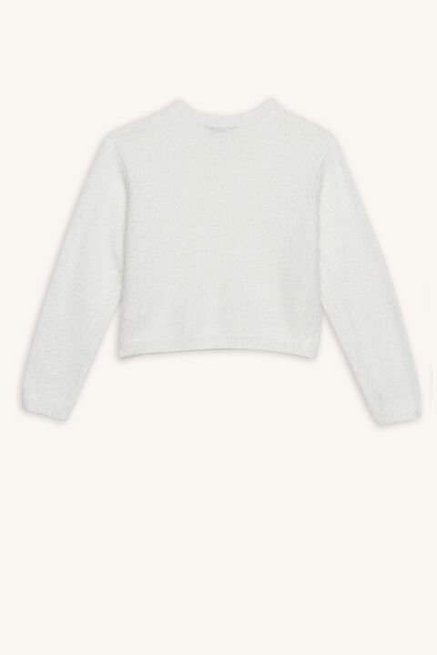 CROPPED FLUFFY KNIT in colour ANTIQUE WHITE