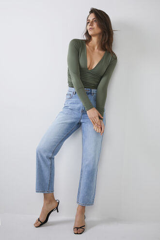 ALI LS BODYSUIT in colour DEEP LICHEN GREEN