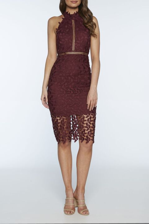 GEMMA HALTER DRESS in colour BURGUNDY