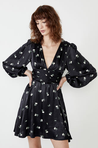 CELIA FLORAL MIDI DRESS in colour JET BLACK