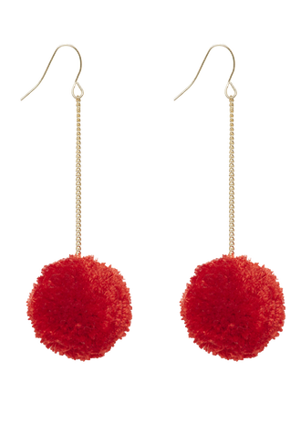 POM POM DROP EARRING in colour RED BUD