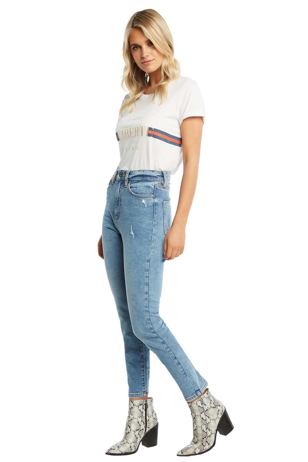 SIENNA SUPER HIGH JEAN in colour TRUE NAVY