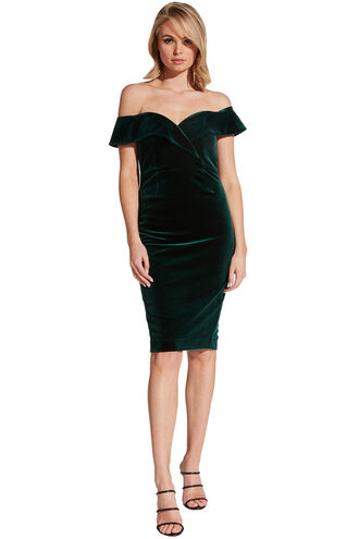 BELLA VELVET DRESS in colour DARK GREEN