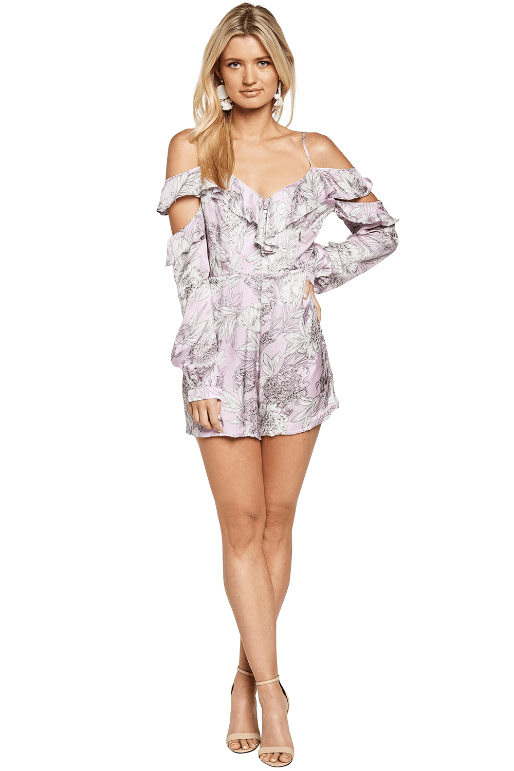 EDRIE FRILL PLAYSUIT in colour ORCHID BLOOM
