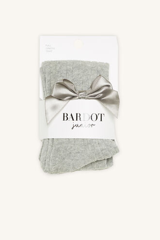 BABY BOW RIBBED TIGHTS in colour GRAY MIST