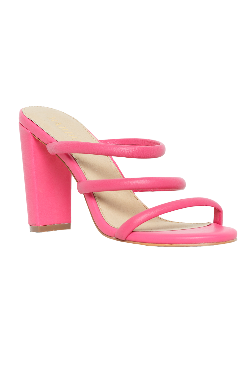TRIPLE LEATHER MULE in colour HOT PINK