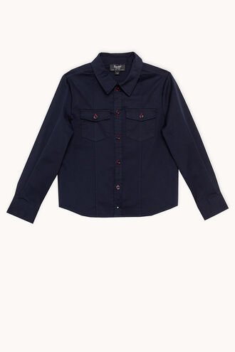 COTTON UTILITY SHIRT in colour BLACK IRIS