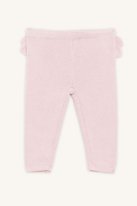 RUFFLE KNITTED PANT in colour PEARL BLUSH