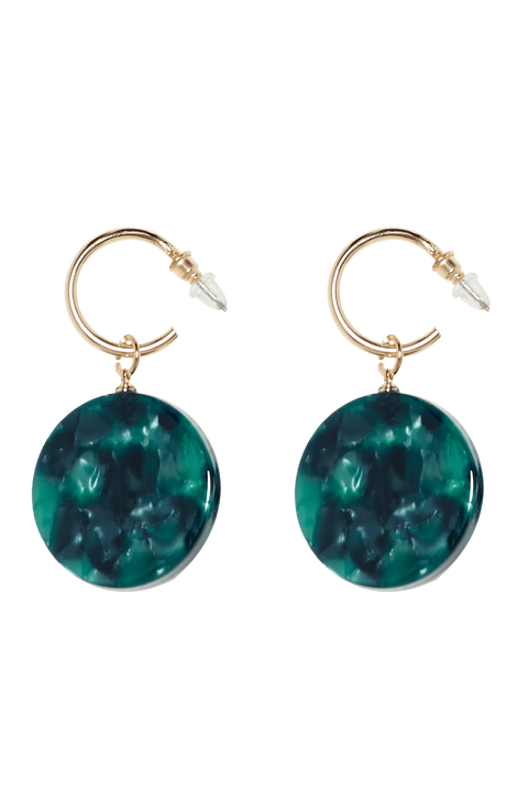 ROUND DROP RESIN EARRINGS in colour GREEN ASH