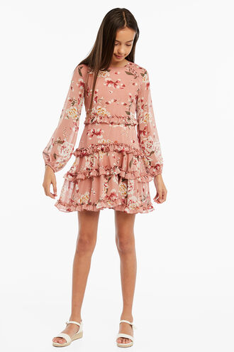 FLORAL FRILL DRESS in colour PINK NECTAR