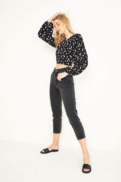 Backless Graphic Spot Top in colour TAP SHOE