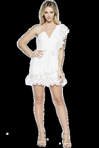 FRILL SHOULDER DRESS in colour BRIGHT WHITE