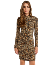 LEOPARD HIGH NECK DRESS in colour LATTE