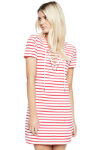 STRIPE SWING DRESS in colour BRIGHT WHITE