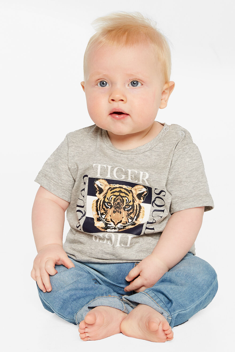 BABY BOY TIGER SQUAD TEE in colour MOONBEAM