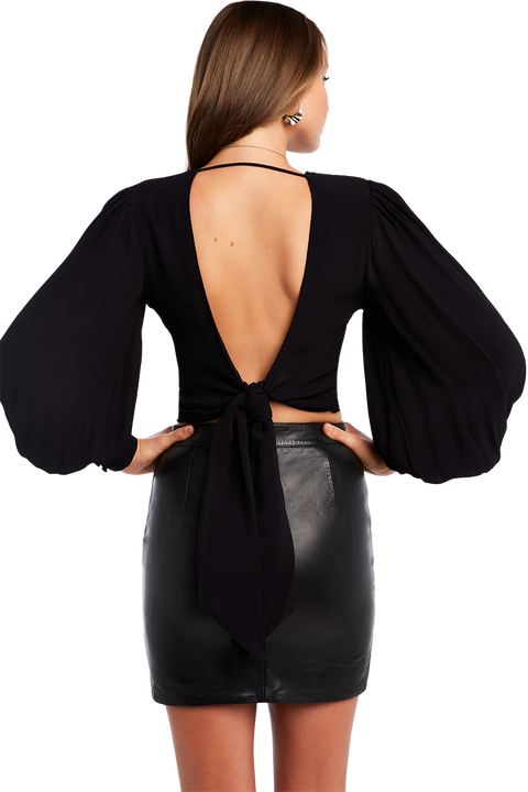 OPEN BACK BLOUSE in colour CAVIAR