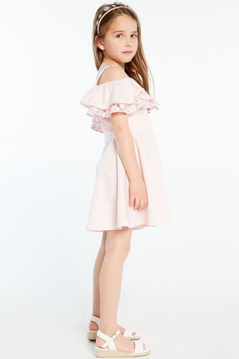 JUNIOR GIRL JOSIE FRILL DRESS in colour PRIMROSE PINK