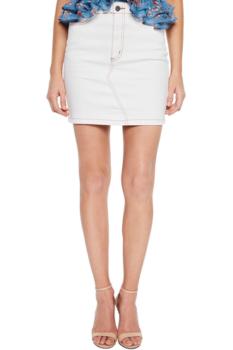 LACE UP DENIM SKIRT in colour BRIGHT WHITE