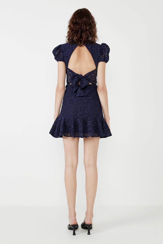 LACE TIE BACK MINI DRESS in colour BLACK IRIS
