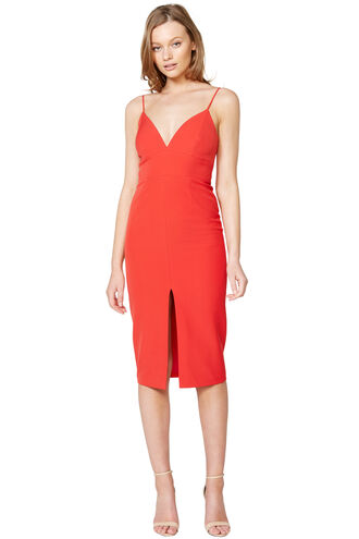 AVA SLIT FRONT DRESS in colour FIESTA