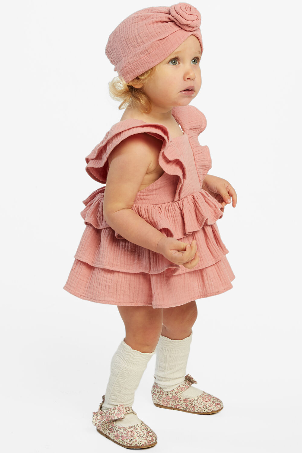 GINA RUFFLE APRON GROW in colour STRAWBERRY ICE