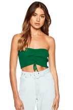 GATHERED RIB BANDEAU TOP in colour CLASSIC GREEN
