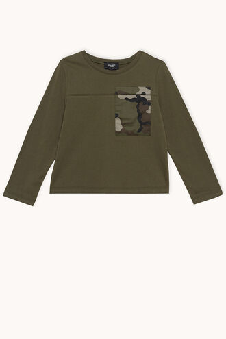 CAMO POCKET L/S TOP in colour COVERT GREEN