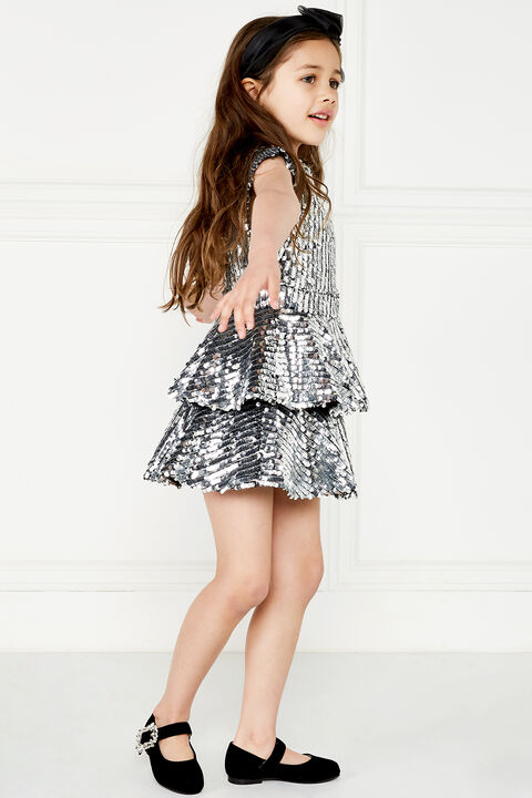 LEILA SEQUIN DRESS in colour LUNAR ROCK