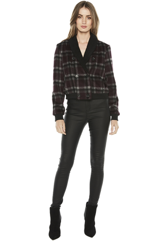 CHECKED BOMBER JACKET in colour BURGUNDY