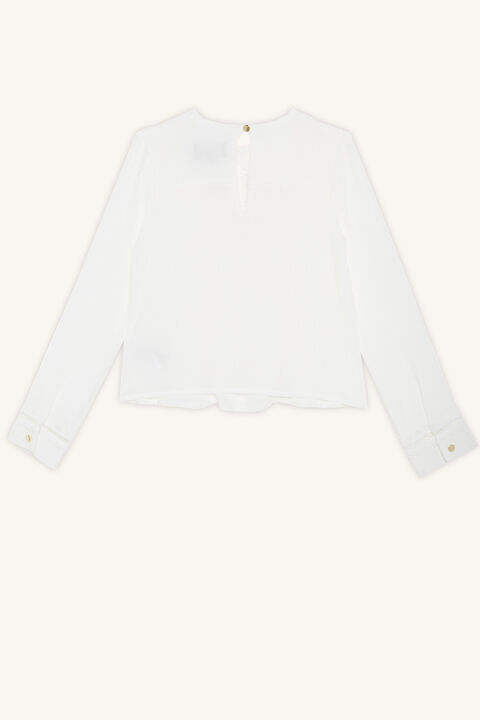 VERA RUFFLE BLOUSE in colour CLOUD DANCER