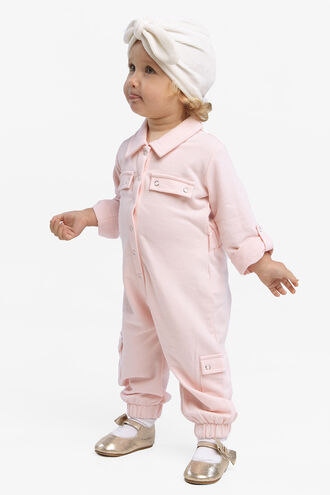 EVA KNIT BOILER SUIT in colour PRIMROSE PINK