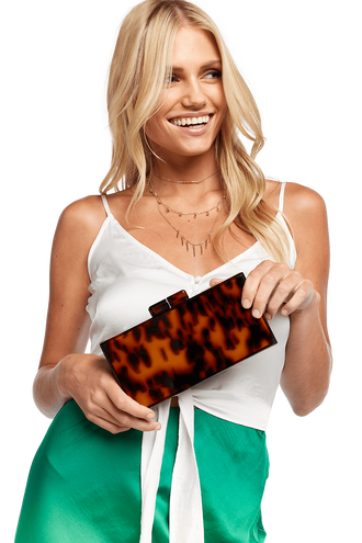 REC TORTOISE CLUTCH in colour TORTOISE SHELL