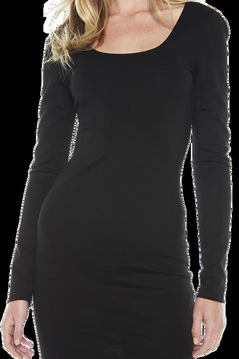 NEVE LONG SLEEVE DRESS in colour CAVIAR