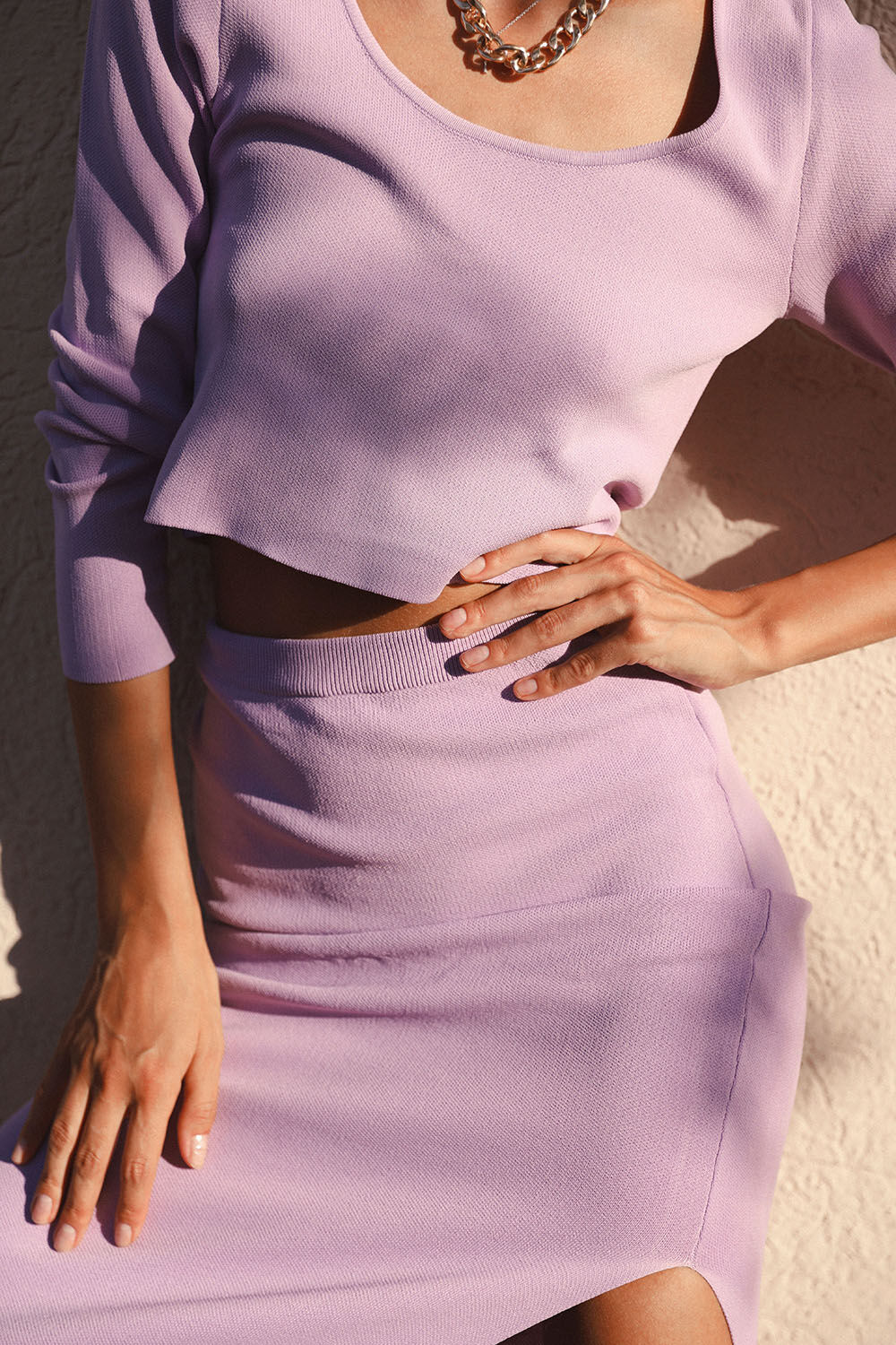 LONG SLEEVE CROP KNIT TOP in colour GRAY LILAC