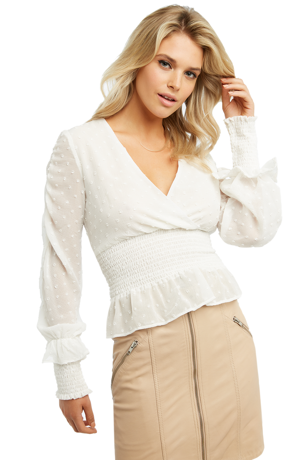 TIANNA DOBBY BLOUSE in colour CLOUD DANCER
