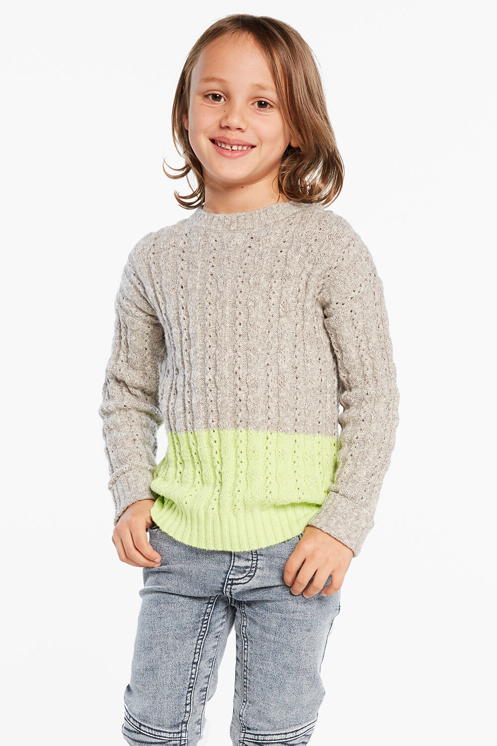 BLOCK KNIT SWEATER in colour LIMELIGHT