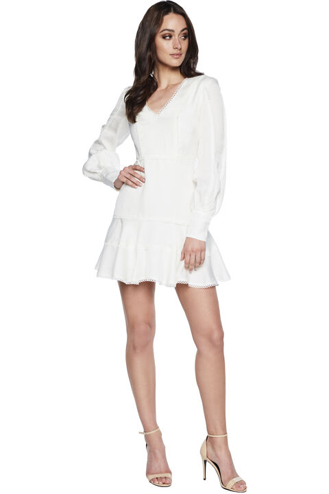 Priano Trim Long Sleeve Dress in colour CLOUD DANCER