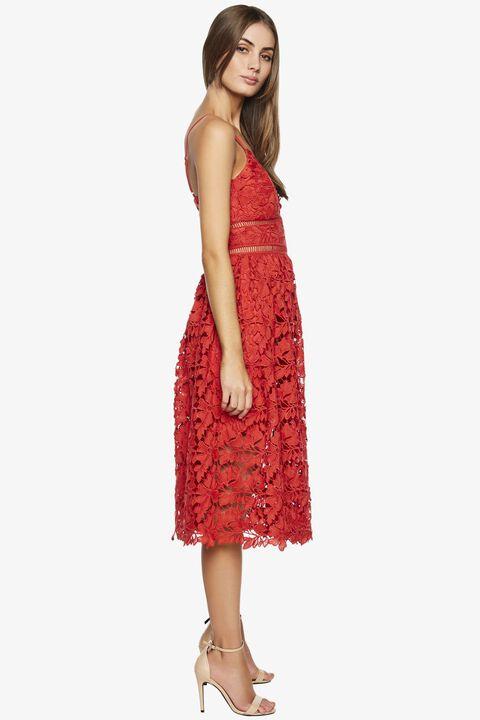 SONYA LACE DRESS in colour FIESTA