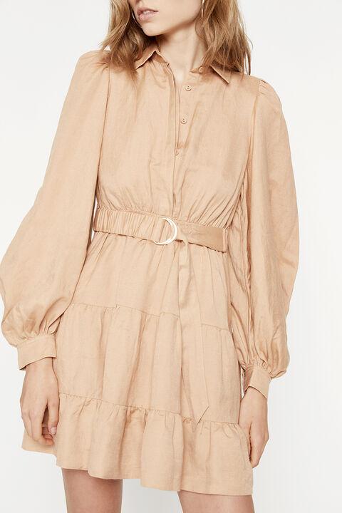 THE MINI SHIRT DRESS in colour TAN