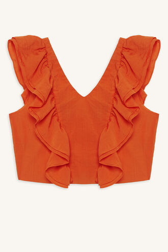 LEONIE RUFFLE TOP in colour MANDARIN RED