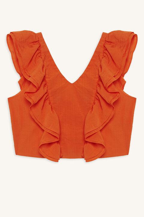 tween girl leonie ruffle top in colour MANDARIN RED