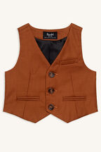 baby boy classic suit vest in colour CASHEW