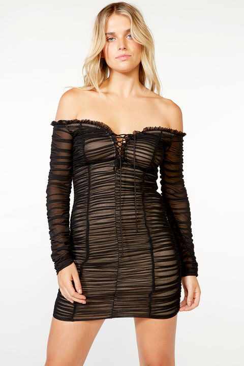 RAVEN MESH DRESS   in colour CAVIAR