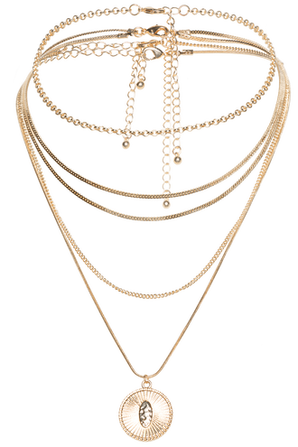 LAYERED CHAIN NECKLACE in colour GOLD EARTH